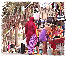 Market stalls in nearby Alghero, Sardinia