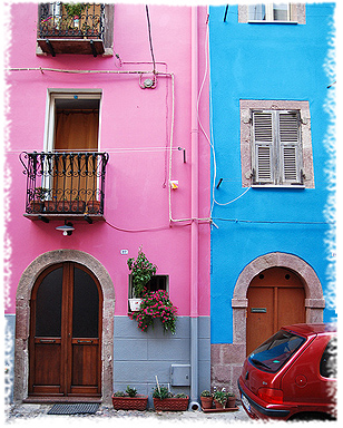 The colourful holiday houses in the historical quarter of Bosa, Italy