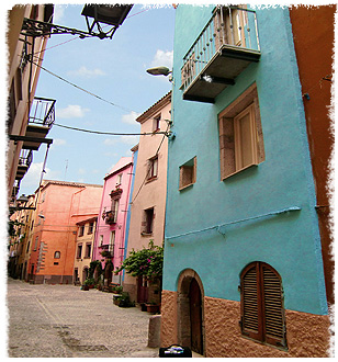 Colourful holiday homes in the old town of Bosa, Sardinia